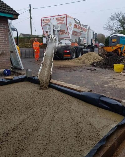 Our ready mix concrete service in action.